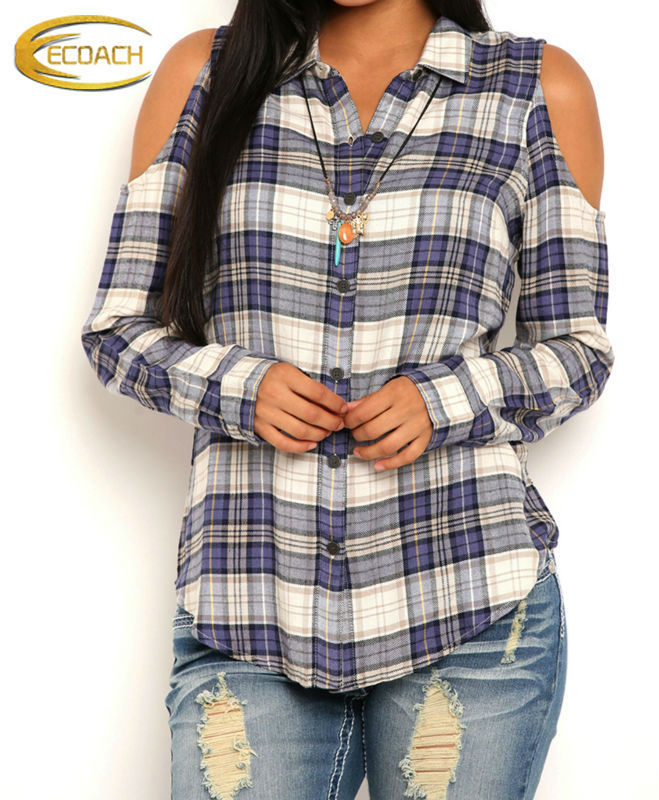 Hot Sale British Cheap Cut-out Shoulder Woman Long Sleeve Plaid Blouse Checks Flannel Shirt