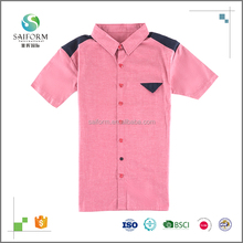 Excellent quality solid color mens short sleeve shirts