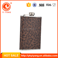 yongkang wholesale hip flasks brand names of white wines with whelk pot leather wrapped