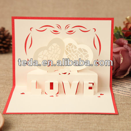 2015Teda The Eiffel Tower three-dimensional extended holiday greetings greeting CARDS creative custom paper carving love