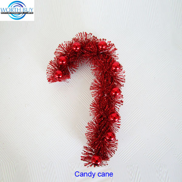 Traditional red balls decorated Christmas candy cane