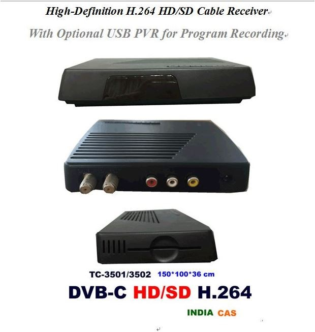 DVB-C hd Receiver cable receiver Mpeg4 h.264 CAS Mulit Conax7.0 USB ABV India