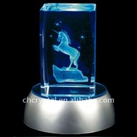 unicorn engraved crystal papreweight with light base