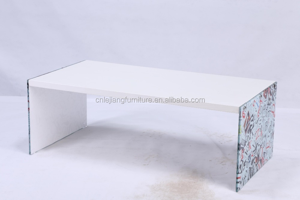 modern design tea table tempered glass wood leg coffee table