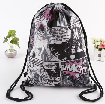Sublimation full printing custom design waterproof nylon bag drawstring