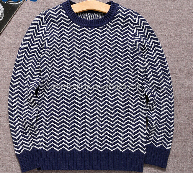 latest trendy crewneck long sleeves herringbone pattern kids wear jumper sweater