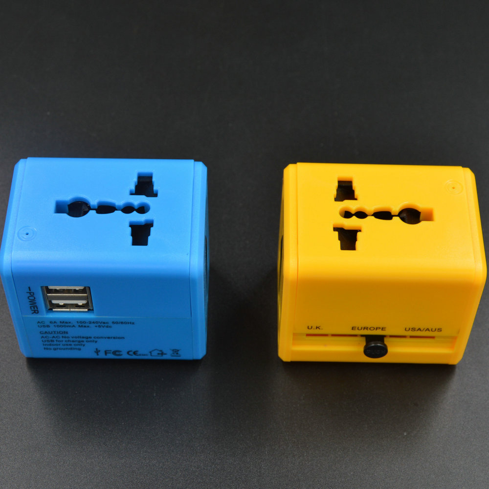 2 USB charger 5V 1A universal travel adaptor print brand trademark logo for company