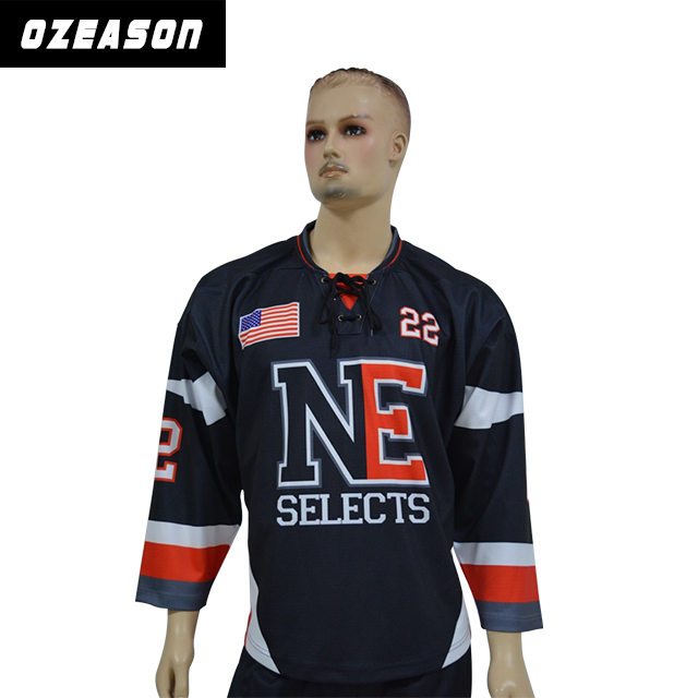 Custom made ice hockey jerseys sublimation/tackle twill/embroidered hockey jersey