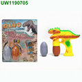 Battery-Free Jurassic Attack Dinosaur Bubble Shooter 4-Pack with 8 Non-Toxic, Non-Staining Bubble Solutions and Bonus Nylon Draw