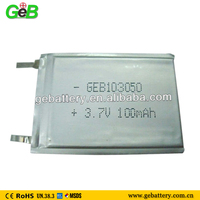 3.7v 100mah lipo battery 1mm untra- thin 103050 battery cell