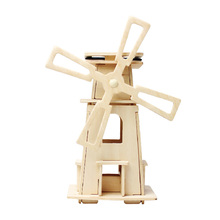 Educational toy wooden 3D puzzle solar windmill toy