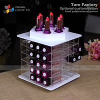 White 66 holes rotary acrylic lipstick display holder makeup organizer