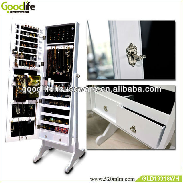 bedroom furniture drawer jewelry storage cabinet with mirror
