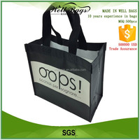 custom reusable black PP non woven matt laminated gift shopping tote hand bag