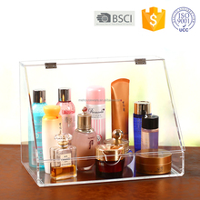 Acrylic Cosmetic Organizer Slanted Front Open Lid Cosmetic Storage