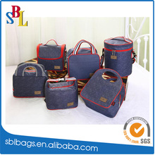 Denim Portable Freezable insulated waterproof student lunch bag cooler bag
