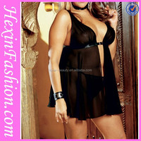 Front open black short sexy nighty wholesale