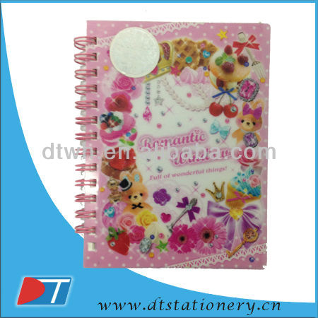 Spiral Notebook With Light Weight Paper For Children/pp/pvc cover notebook/plastic notebook