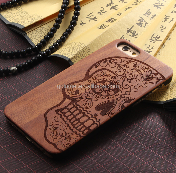 luxury natural carved real wood phone case cover for iphone 6 6s