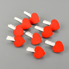 1 Pack Red Heart Wooden Clips Wedding Decorative