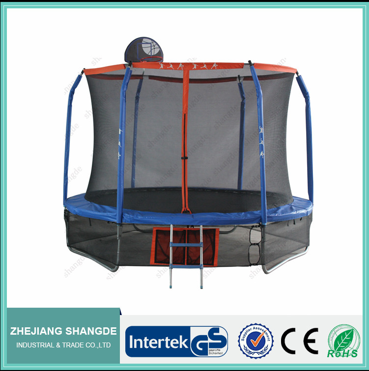 8FT Trampoline and Safety Net for adult with basketball hoop