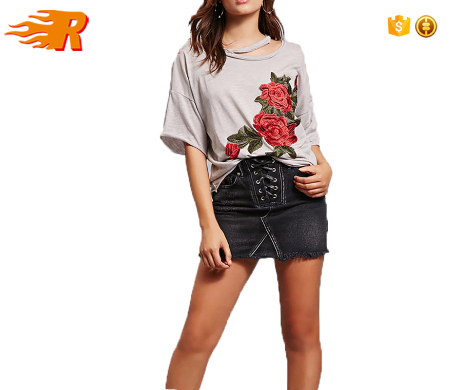 Customized Short Sleeves Scoop Neck Dropped Shoulders Rose Embroidered T-shirt