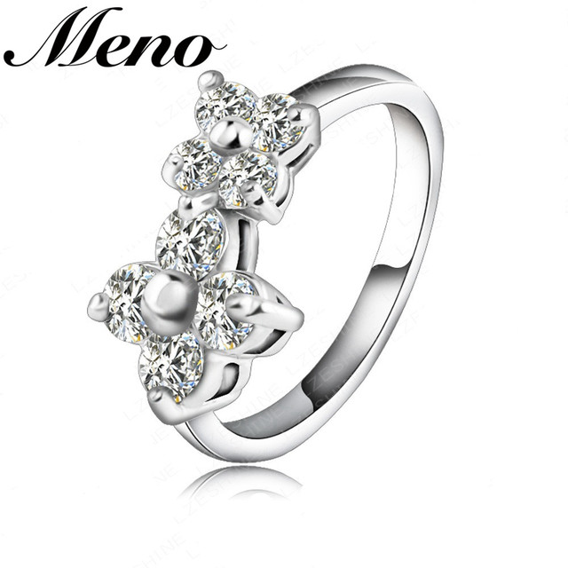 Meno high quality Rhodium plated double four-leaf clover diamond finger ring