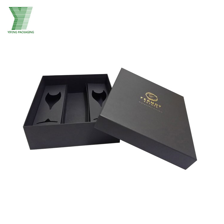 China wholesale luxury hot stamping with lid elegant wine glasses set box