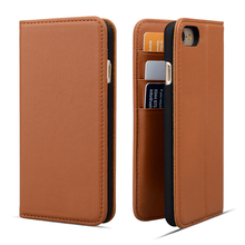 Amazon hot selling wallet stand real leather phone case for iPhone 8