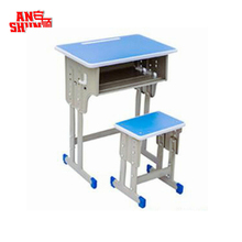 FAS-046 2018 school table furniture factory adjustable student desk and chair