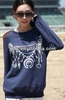 Hot custom girl's crew neck sweatshirt with chain printed