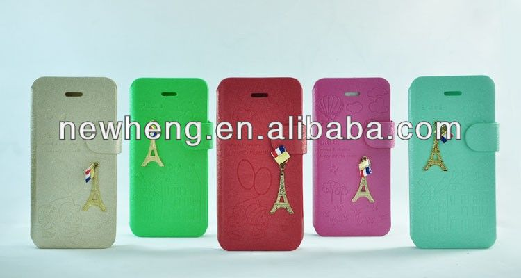 Bling Diamond Iron Tower pattern Leather Case for iPhone 5