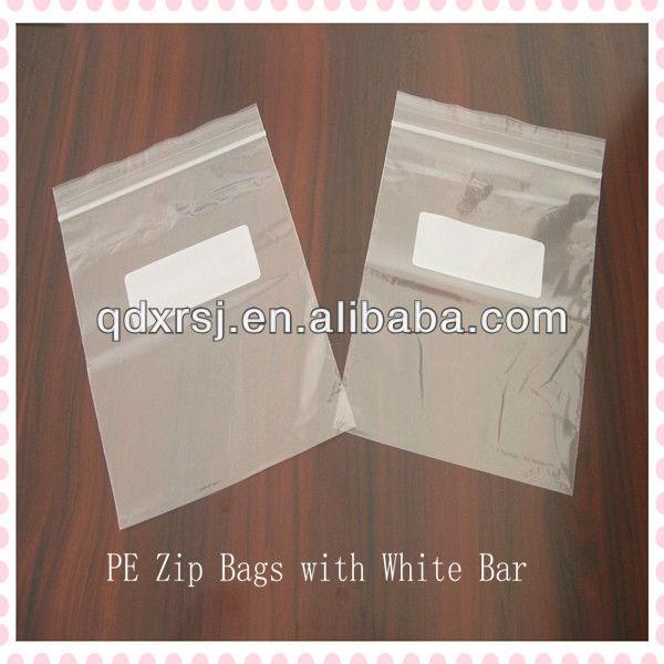 Custom printed plastic ziplock bags with white bar for for Custom plastic t shirt bags
