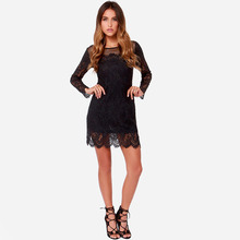 Desigual 2017 Casual Winter Women Hip Dress Embroidered Sexy Pencil Package Sheath Long Sleeve V-neck Maxi Lace Bodycon Dress