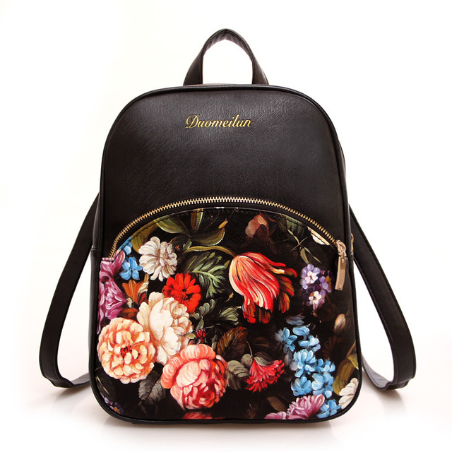 Women Leather Backpacks Printing Foral Bags School Bag For College Designer Female Backpack Bolsas Mochilas 2016 High Quality