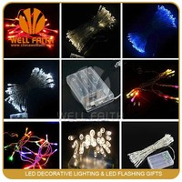 1.2M 10leds invisible Warm White 2AA battery powered Led PVC string light light for wedding bouquet Christmas decoration