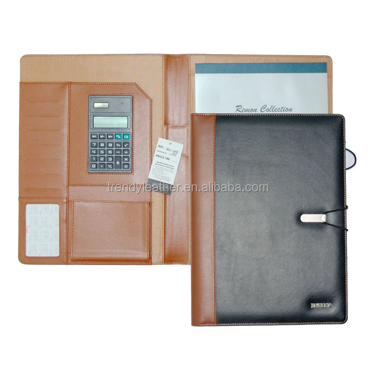 Custom A4 business Genuine Leather Men's embossed Portfolio