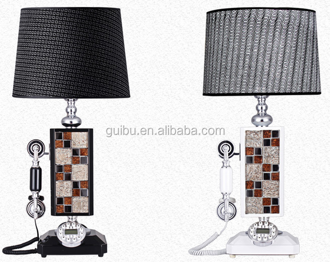 hot sale white and black table lamp with landline telephone for home office decor