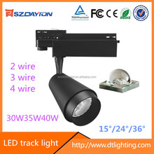 NEW Product 2wire 3wire 4wire white/ black cob led track light rail 35w 40w for commercial lighting