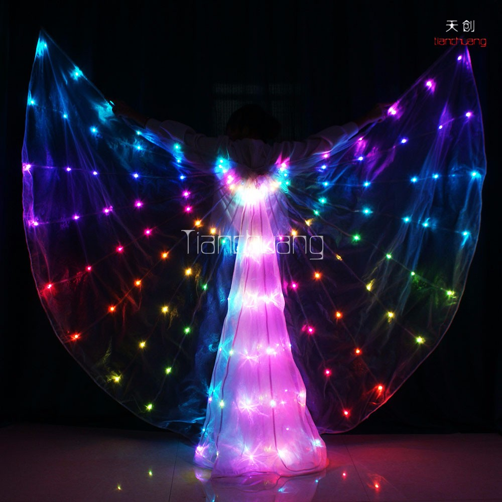 Programmable led light up fairy belly dance costumes isis wings