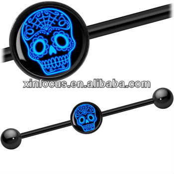 Black Blue Sugar Skull Industrial Ear Barbell Valentine's Gift