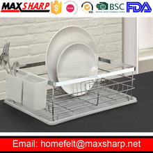 Single Chrome Sink Dish Drainer with Plastic Tray and Cultery