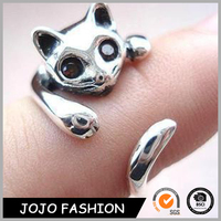 Fashion Jewelry Wholesale Individual Special Cute Animal Silver Opening Finger Cat Ring