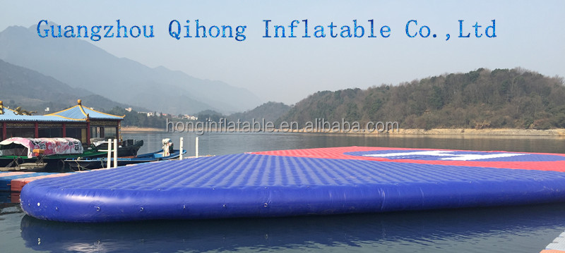 Giant swinging water sport game inflatable trampolines from China for lake