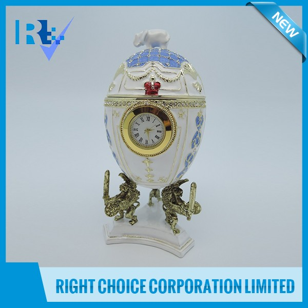 Egg Shape Jewelry Box with Clock and Music