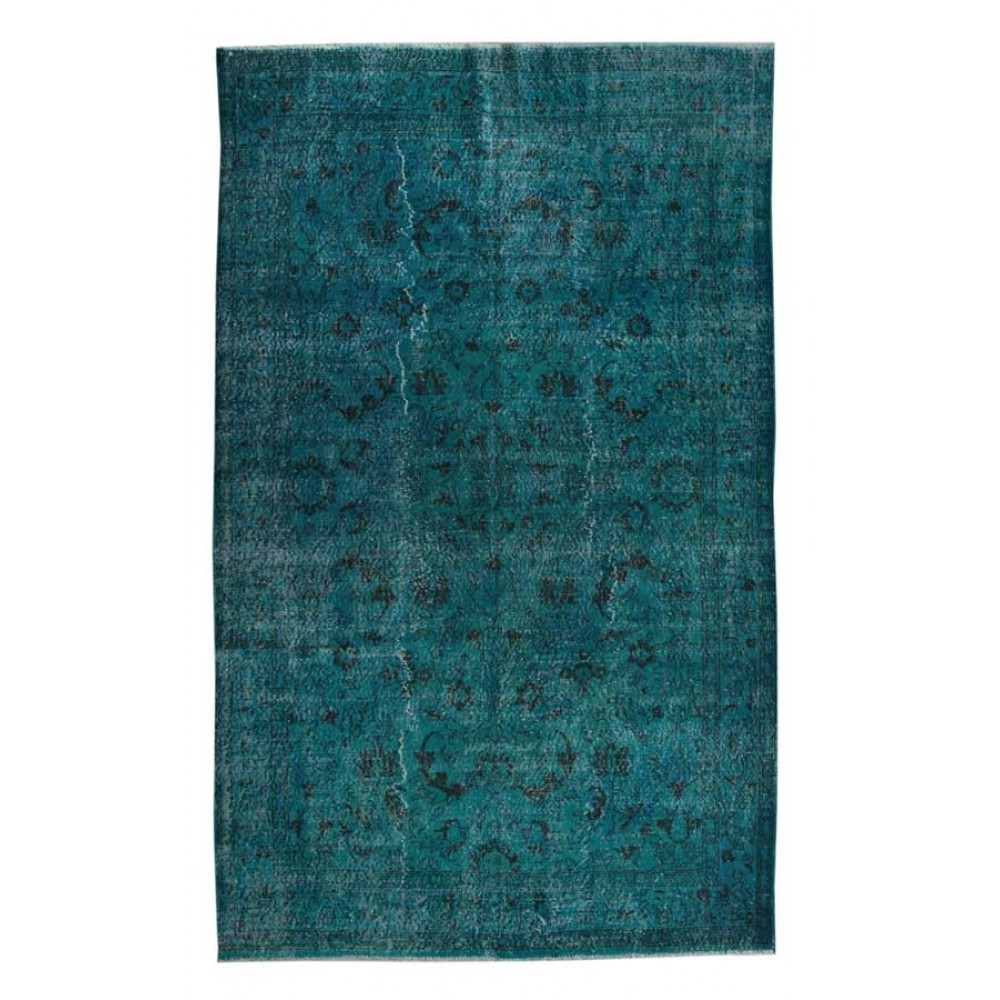 Blueish Decorative Rug (9,8 x 6,2 feet) - Overdyed Vintage Rug