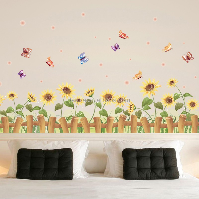 new arrival wall art stickers,reusable decorative vinyl stickers,sunflowers pvc wall border sticker