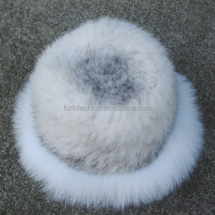 2017/2018 New Product Winter Genuine Knitted Mink Fur Hat with Fox Fur Trim for Elegant Ladies