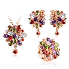 LZESHINE 2016 The Latest Fashion Flower Bridal Jewelry Sets Gold Plated CZ Diamond Engagement Jewellery Sets Wholesale CST0038