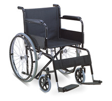 Eco-friendly coating manual steel main frame wheel chair with solid wheels for elderly/disabled people RJ-W875